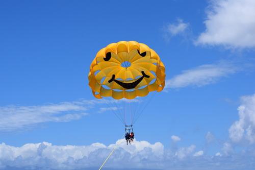 Happy parasailers